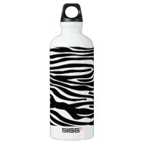 Zebra Print Pattern - Black and White Aluminum Water Bottle