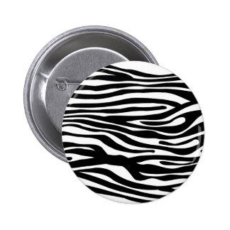 Zebra Print Pattern - Black and White Button