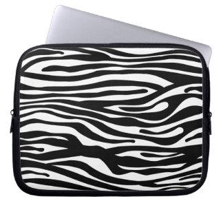 Zebra Print Pattern - Black and White Laptop Computer Sleeve