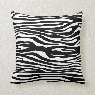 Zebra Print Pattern - Black and White Pillow