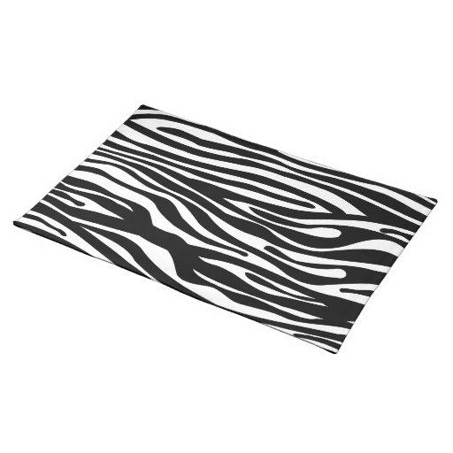 Zebra Print Pattern - Black and White Placemat