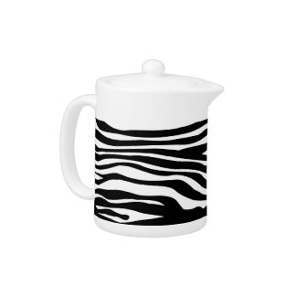 Zebra Print Pattern - Black and White Teapot
