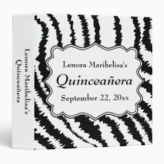 Zebra Print Pattern Quinceanera 3 Ring Binder
