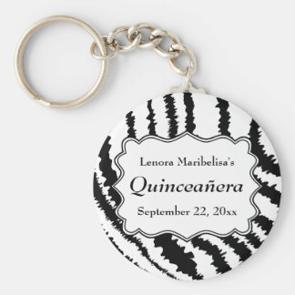 Zebra Print Pattern Quinceanera Basic Round Button Keychain