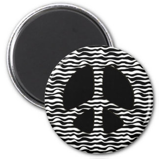 ZEBRA PRINT PEACE SIGN 2 INCH ROUND MAGNET