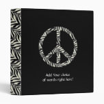 Zebra Print Peace Sign Binder