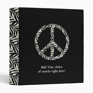 Zebra Print Peace Sign Binder