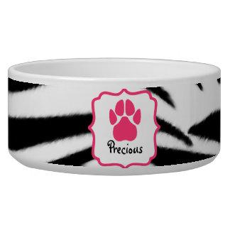 Zebra Print Pet Bowl Dog Water Bowl