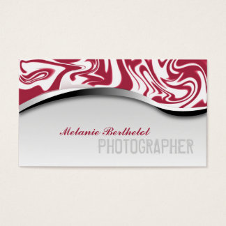 Zebra Print Photographer Business Card Red