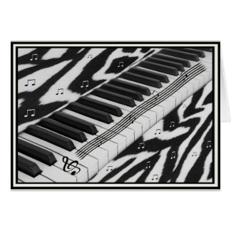 Zebra Print Piano Keyboard Card