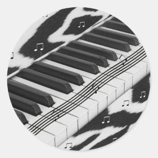 Zebra Print Piano Keyboard Classic Round Sticker