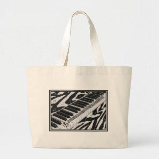 Zebra Print Piano Keyboard Large Tote Bag