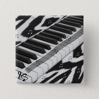 Zebra Print Piano Keyboard Pinback Button