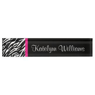 Zebra Print Pink Accent Monogram Desk Name Plate