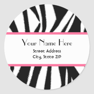 Zebra Print & Pink Address Sticker