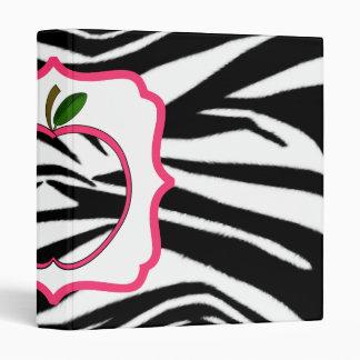 Zebra Print Pink Apple Fancy Teacher Binder