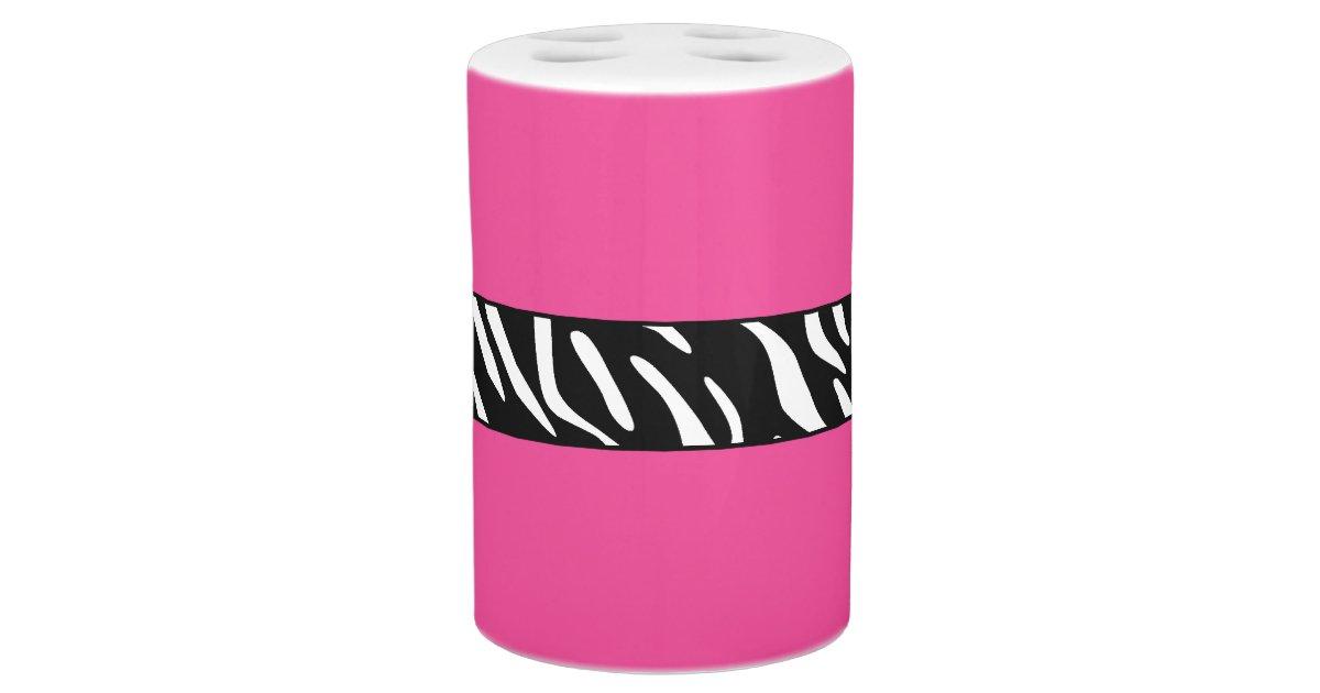 Zebra print pink bathroom accessory set zazzle for Bathroom ideas zebra print