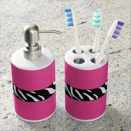 Zebra print pink bathroom accessory set soap dispensers for Bathroom ideas zebra print