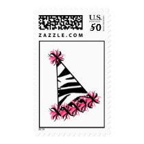 Zebra Print & Pink Birthday Party Hat Postage