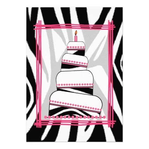 Zebra Print & Pink Birthday Party Invite 5