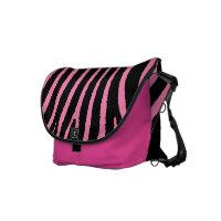 Zebra Print Pink Black Stripes messenger bag rickshawmessengerbag