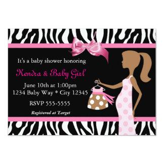 Zebra Print & Pink Bow Mod Mom Baby Girl Shower 4.5x6.25 Paper Invitation Card