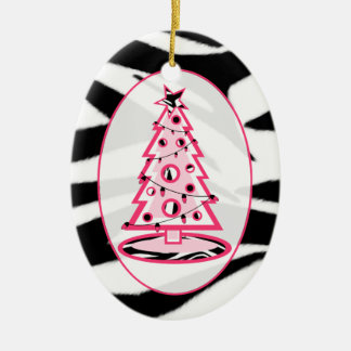 Zebra Print & Pink Christmas Tree Ornament