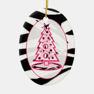 Zebra Print & Pink Christmas Tree Ornament