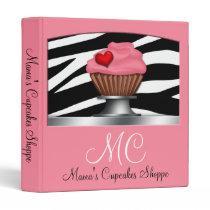 Zebra Print Pink Cupcake Pedestal Binder