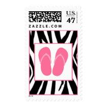 Zebra Print & Pink Flip Flops Postage