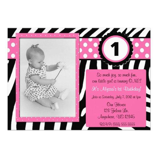 Zebra Print Pink Girls Birthday Invitation