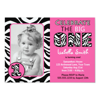 Zebra Print Pink Girls First Birthday 4.5x6.25 Paper Invitation Card