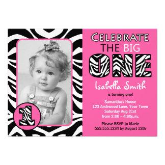 Zebra Print Pink Girls First Birthday Invite