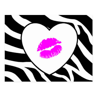 Zebra Print Pink Kiss Postcard