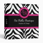Zebra Print Pink Lace Monogram 1 Inch Binder