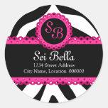 Zebra Print & Pink Lace Monogram Stickers