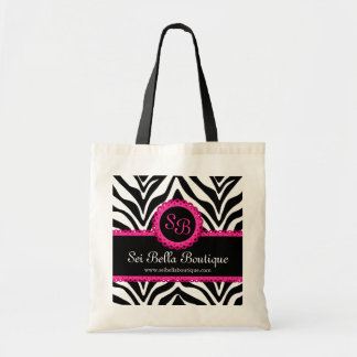 Zebra Print & Pink Lace Monogram Tote Bag