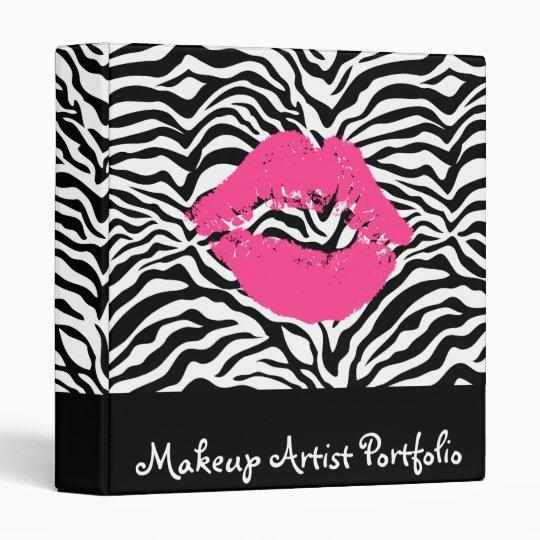 Zebra Print Pink Lipstick Makeup Artist Portfolio 3 Ring Binder