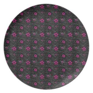 Zebra Print Pink Mini Stars - 80s Rock Plate