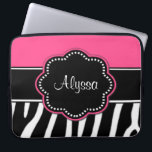"Zebra Print Pink Monogram laptop Case<br><div class=""desc"">Show off your wild side in a fun way with this personalized pink zebra print laptop case.</div>"