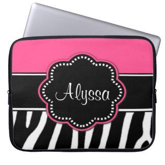 Zebra Print Pink Monogram laptop Case Laptop Sleeves