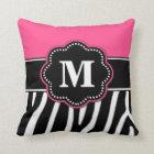 Zebra Print Pink Monogram Pillow