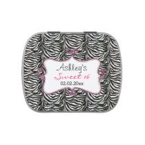 Zebra Print Pink Personalized candy tins