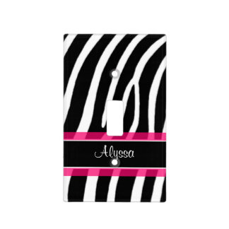 Zebra Print Pink Personalized Light Switch Covers
