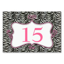 Zebra Print Pink Personalized table numbers Card