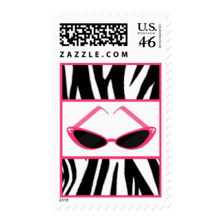 Zebra Print Pink Retro Sunglasses Postage