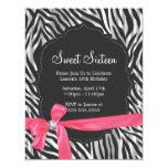 Zebra Print Pink Ribbon & Diamond Fashion Sixteen 4.25x5.5 Paper Invitation Card