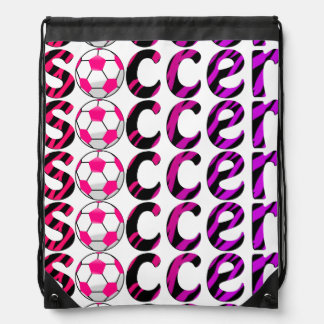 Zebra Print Pink Soccer Ball Bag Backpack