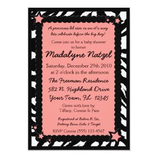 Zebra Print Pink Star Baby Shower Party Invitation