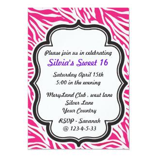Zebra Print pink sweet sixteen invitation